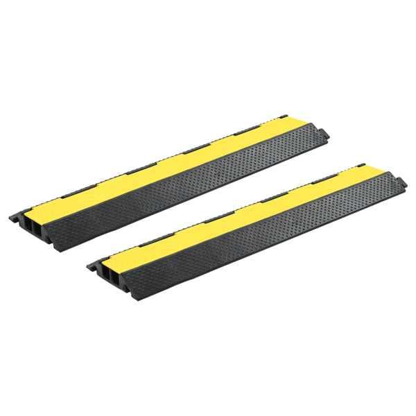 vidaXL Rampe de protecție cabluri, 2 buc, 2 canale cauciuc, 101,5 cm