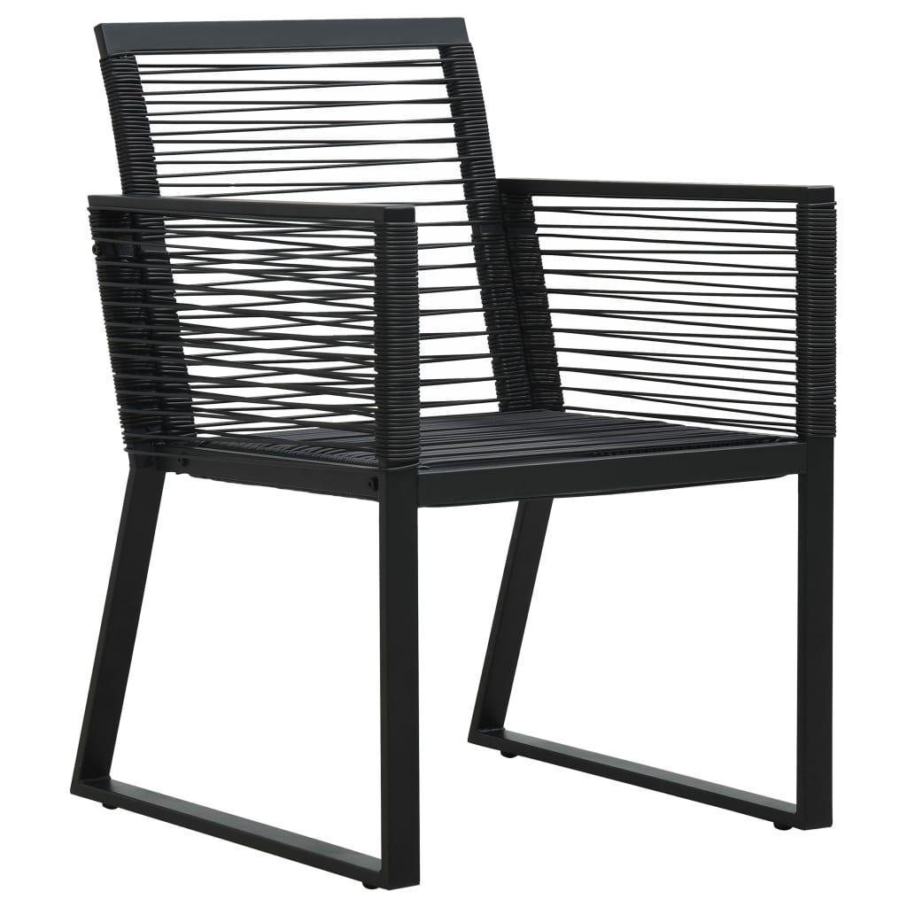 vidaXL Set mobilier de exterior, 5 piese, negru, ratan PVC