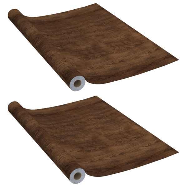 Folii mobilier autoadezive, 2 buc. stejar închis, 500×90 cm PVC