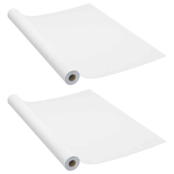 vidaXL Folii mobilier autoadezive, 2 buc., alb, 500 x 90 cm, PVC