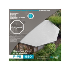 couverture d'hiver et de sécurité pour piscines bois octogonale 505 ou 530 cm