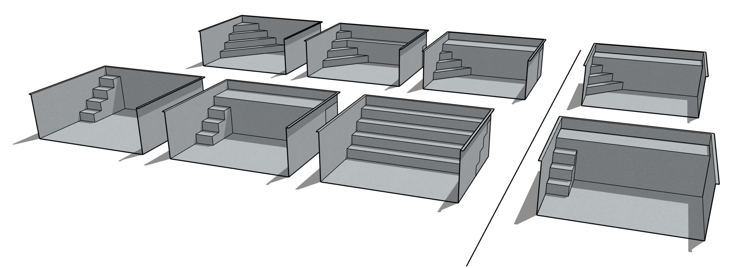 formes des escaliers de piscine Linoxydable
