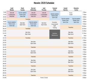 Horaire 2020 Schedule