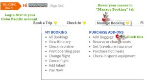 Add Baggage Modify Cebu Pacific Booking