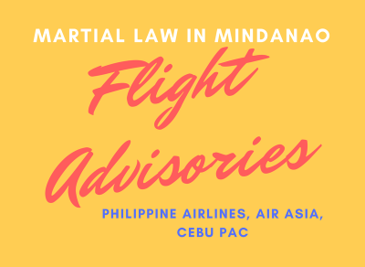 Travel Flight Advisories Martial Law in Mindanao | PAL, Air Asia, Cebu Pac