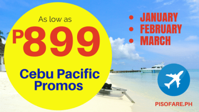 Cebu Pacific Promo Fare 2018 Details: January, February, March