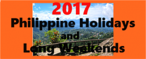 2017 Philippine Holidays and Long Weekends
