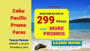 Cebu Pacific seat sale 2019: Book as low as 299 Pesos base fare or 899 Pesos base fare The ongoing Cebu Pacific promo fares feature sale ticket from Cebu. Fly Cebu to popular destinations in Visayas and Mindanao for as low as base fare of 299 Pesos or 599 Pesos for journeys to Mindanao or Luzon (Clark, Legazpi). Meanwhile, Cebu Pacific international promo tickets are available for foreign destinations in Macau, Singapore, Hong Kong, Narita (Japan), Shanghai (China). Booking of this promo is ongoing until June 23, 2019. Promo Travel Dates: August, September, October 2019 Cebu Pacific Domestic Seat Sale 2019 As low as 299 Pesos base-fare Cebu to Bacolod, Butuan, Cagayan De Oro, Calbayog, Camiguin, Caticlan, Davao, Dipolog, Dumaguete, Iloilo, Kalibo, Puerto Princesa, or Siargao As low as 599 Pesos base-fare Cebu to Clark, General Santos, Legazpi, Ozamiz, Pagadian, Surigao, Tacloban, or Zamboanga Cebu Pacific Promos, International As low as 899 Pesos base-fare Cebu to Macau (Travel Period: August 01, 2019 to October 26, 2019) As low as 1,782 Pesos base-fare Cebu to Singapore As low as 1,899 Pesos base-fare Cebu to Hong Kong As low as 2,099 Pesos base-fare Cebu to Shanghai (Travel Period: August 01, 2019 to October 26, 2019) As low as 2,414 Pesos base-fare Cebu to Incheon As low as 2,799 Pesos base-fare Cebu to Narita How to Get Cebu Pacific Promo Tickets? Purchase the low fares at Cebu Pacific sales offices in Luzon, Manila, Visayas, Mindanao. The affordable fares are also available at authorized ticket booking offices and travel agencies in the various parts of the Philippines and other countries. Book sale ticket online at Cebu Pacific website: www.cebupacificair.com. This promo does not require a promo code in booking. Promo fare ticket of Cebu Pacific booked online can be paid online or thru Payment Centers. Read How to Pay Cebu Pacific Promo Tickets Booked Online. Call Cebu Pacific hotline numbers in Manila at (02) 7020888 or in Cebu at (032) 2308888. Cebu Pacific promo ticket cover only the base fare for one-way travel and 7 kg hand carry baggage. Excluded are the admin fee, fuel surcharge, 12% VAT, passenger service charge. Check baggage allowance is not included in Cebu Pacific regular or promo ticket. Save on baggage fees by purchasing baggage allowance in advance during initial booking or later at Cebu Pacific booking website thru Manage Booking tab. Checked baggage options are: 20 kg, 32kg, 40 kg. You may also buy other Add-ons at least 4 hours prior to flight departure. Your desired destination is not included on this seat sale? Like us in Facebook: PISO FARE Promo Ticket to receive notification in your newsfeed when we share promos and seat sale 2019- 2020!