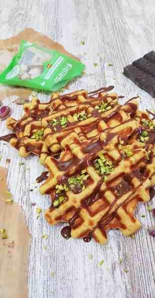 gofres de pistachos y calabaza