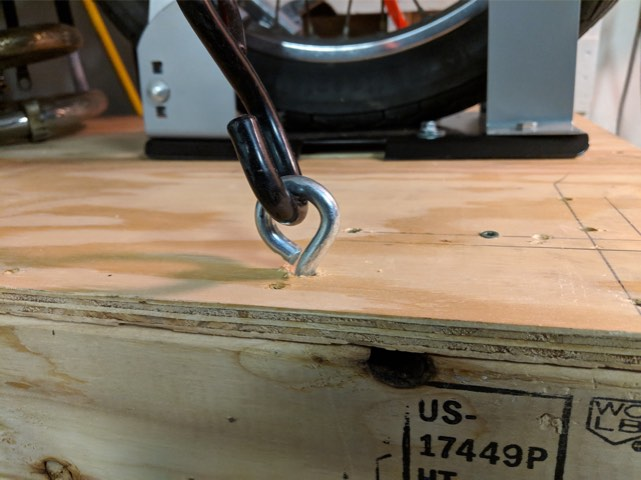 Tie Downs - Upcycled moto work table