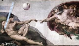 """Releitura do afresco pintado por Michelangelo, """"A criação de Adão"""""""