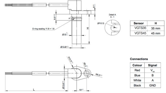 dimensions du capteur de vitesse VGTS avec fils