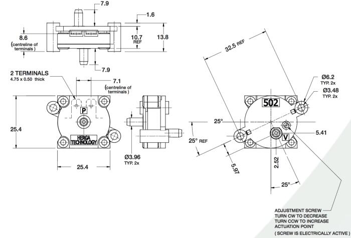 dimensions HPS502G-C