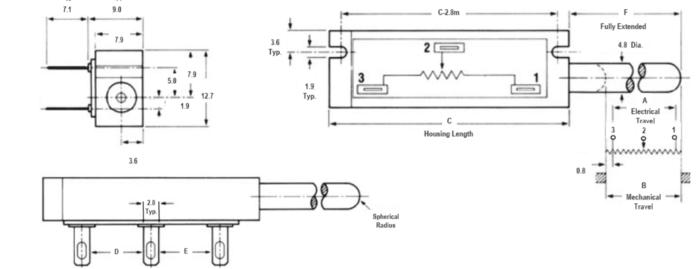 KTP-05-L capteur position ressort dimensions