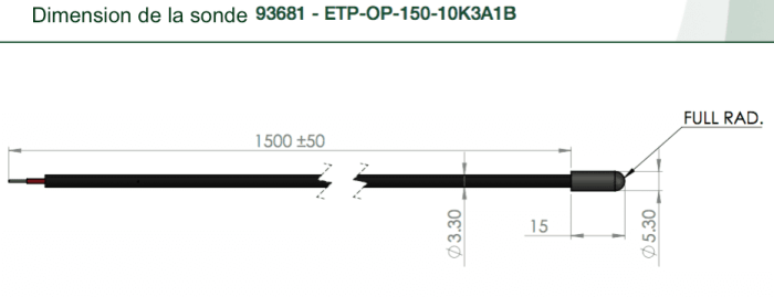 dimensions sonde temperature ETP-OP
