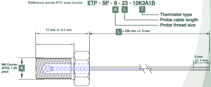 dimension sonde boulon NTC ETP-SP-8-23-10K