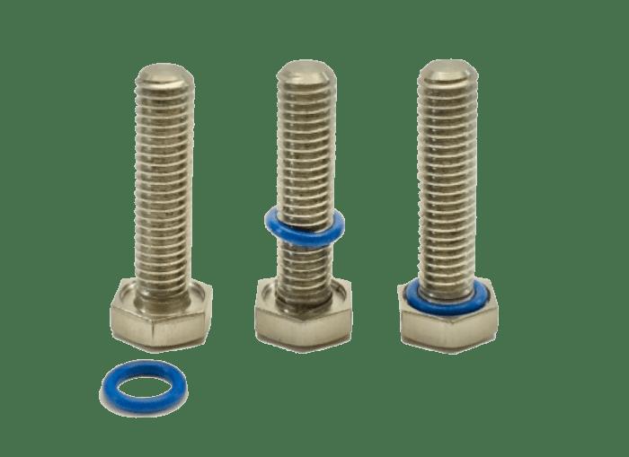 Montage joint fluoro-silicone sur vis à tête hexagonale