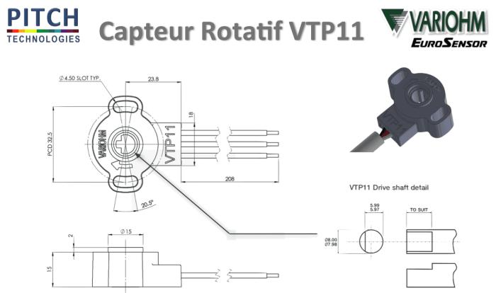 capteur position rotatif 100°