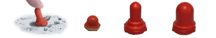 protections étanches rouges pour boutons poussoirs zago