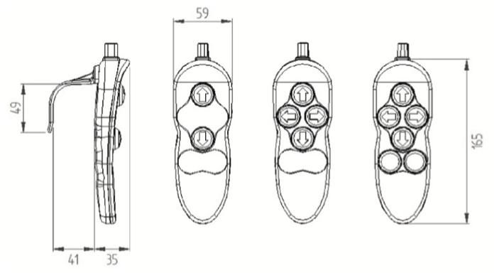 dimensions télécommande 6451 Herga