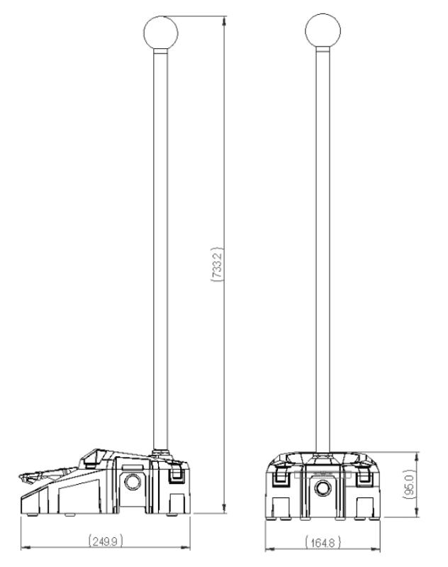 dimensions pédale 6256 avec mat et boule
