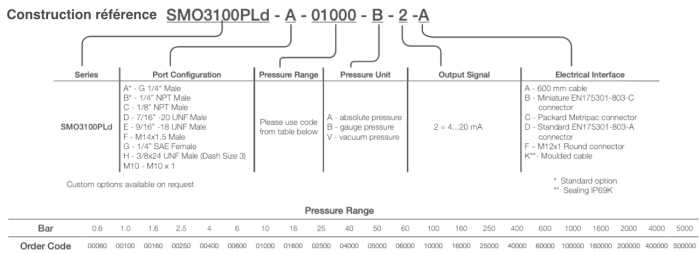 SMO3100PLD-A-01000-B-2-A REF CAPTEUR DE PRESSION SIL2