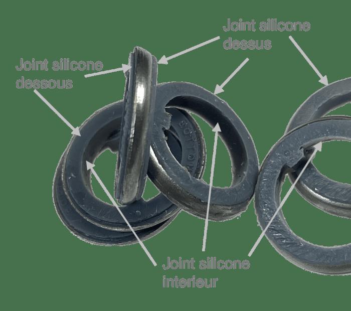 bague joint acier et silicone pour interrupteur entre ecrou et panneau