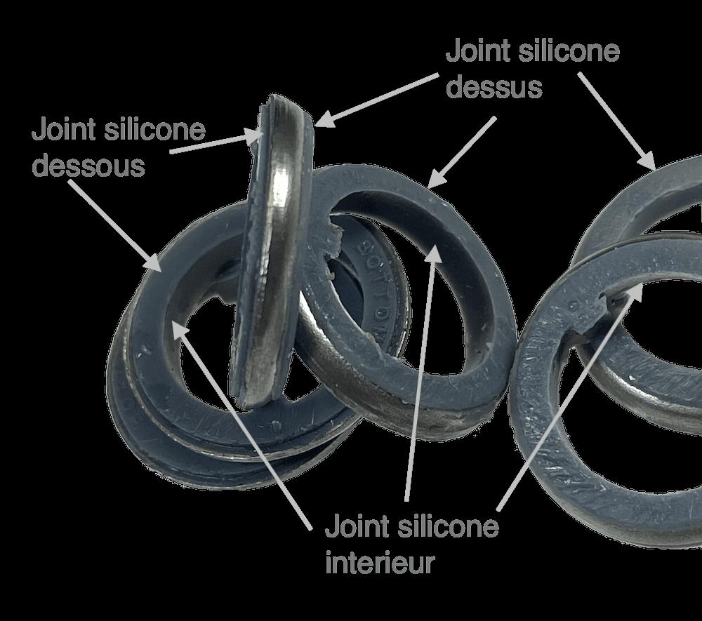 bague joint acier pour interrupteur entre ecrou et panneau