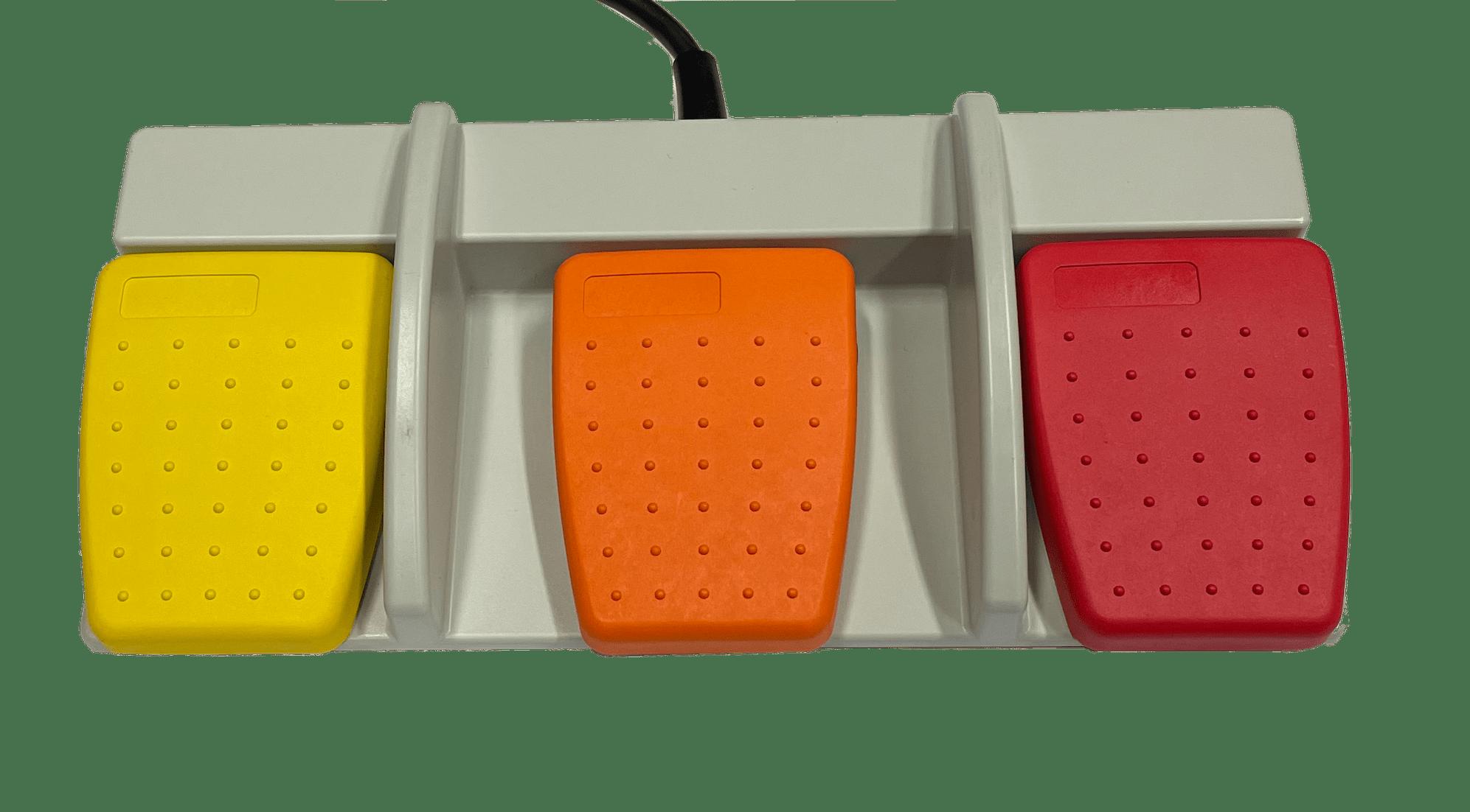 commande 3 pédales fonctions orange jaune rouge