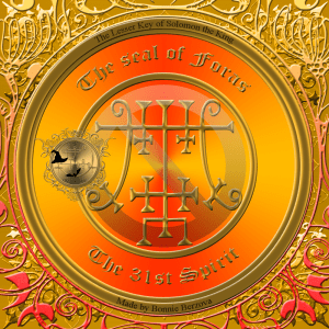 Demon Foras is described in the Goetia and this is his seal.