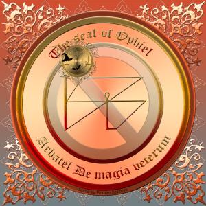 在Arbatel De magia veterum中描述了奧林匹克精神Ophiel,這是他的印記。