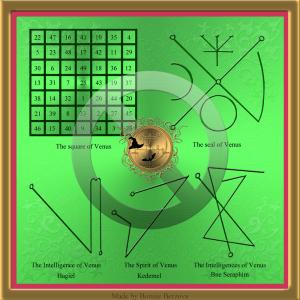 This is the planetary talisman of Venus: square of Venus, the seal of Venus and the seals of Kedemel, Hagiel and Bne Seraphim.