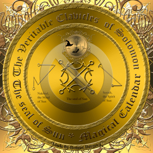 This is also the planetary talisman of Sun with the seals of Sun, Sorath and Nakhiel.