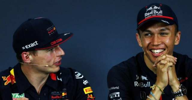 Verstappen y Albon, todavía cuando era piloto de Toro Rosso.