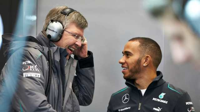 ross brawn y lewis hamilton - mercedes f1