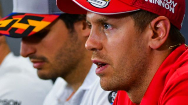 Vettel y Sainz en plena rueda de prensa