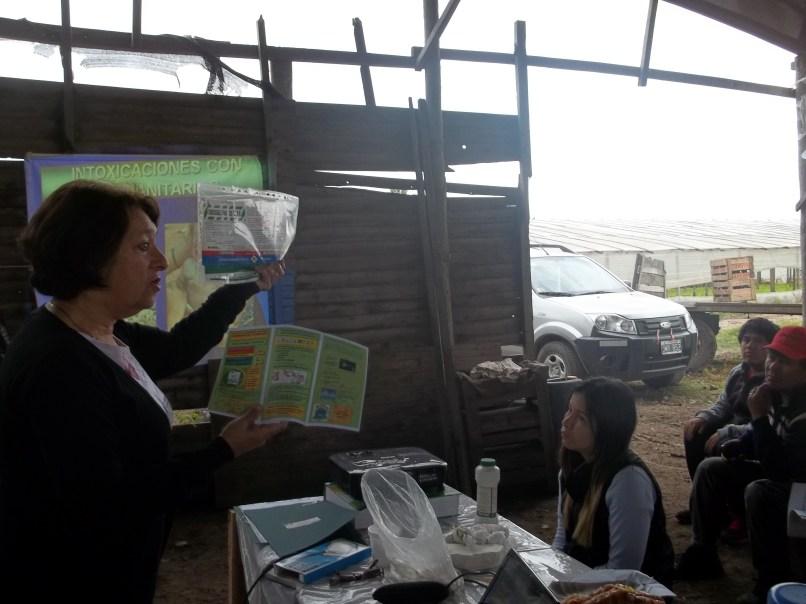 Figura 4. Presentación de alternativas de control: manejo seguro de agroquímicos (2º jornada)