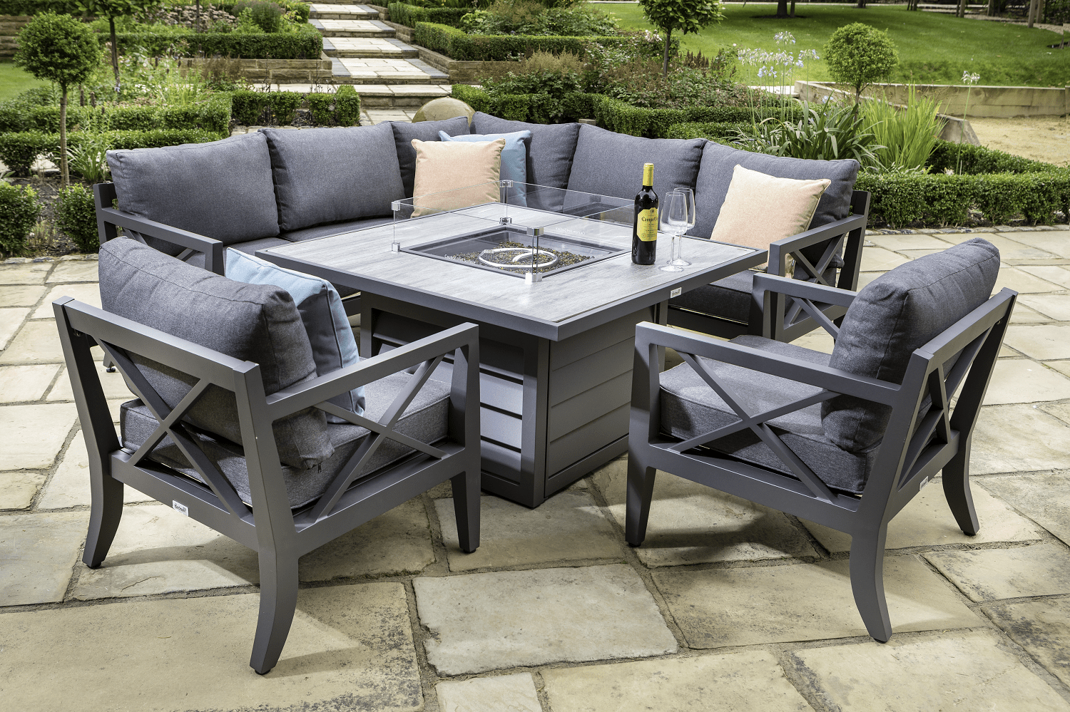 hartman sorrento square casual dining set with gas fire pit table in xerix slate