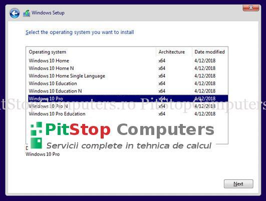 Windows 10 setup screen