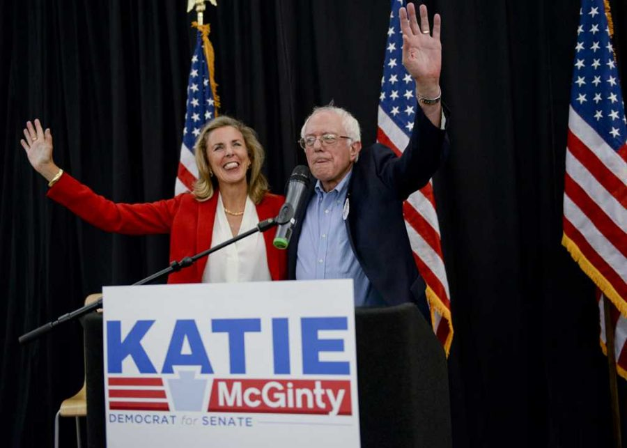 Senatorial candidate Katie McGinty campaigns  with Bernie Sanders at Carnegie Mellon University. John Hamilton | Staff Photographer