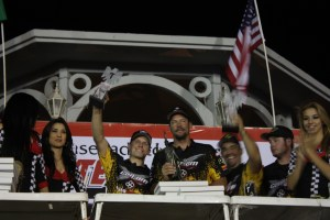 Josh Frederick with his team on the podium in La Paz for the Baja 1000.