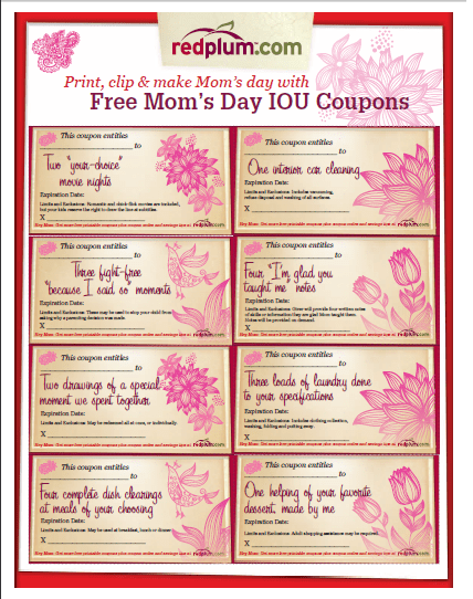 Free Gifts For Mom Mothers Day IOUs Pittsburgh Coupon