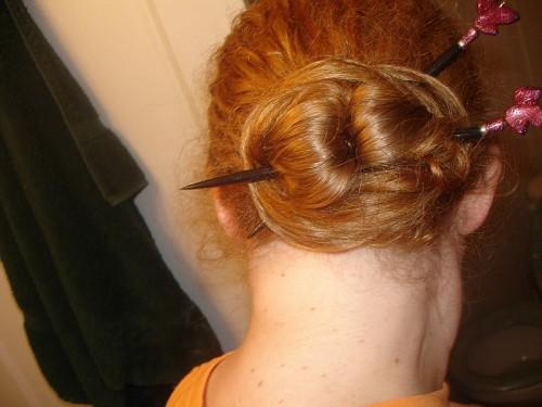 Chinese Bun straight hair