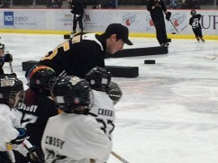 Tristan Jarry with kids at the UPMC Lemieux Sports Complex. -- SHELLY ANDERSON