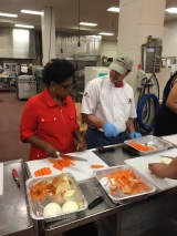 Denise Davis, Sunnyside, learns from Chef Bill