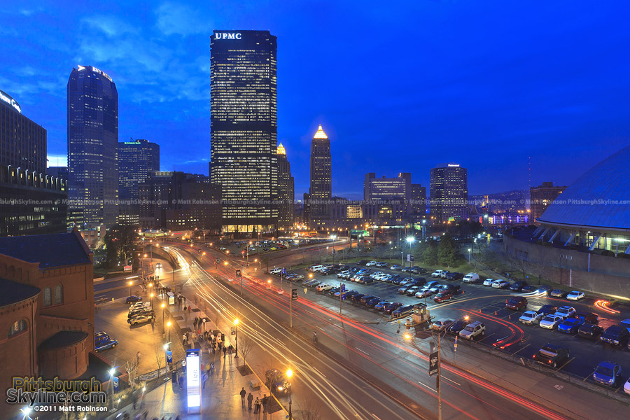 Evening view of downtown from the Consol Center