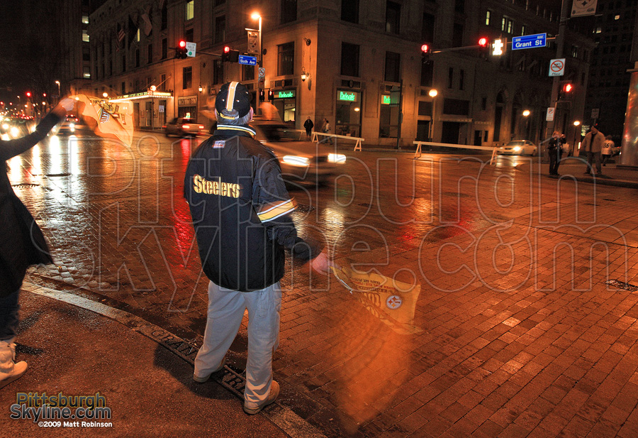 Steeler fans celebrate the night of the Superbowl 43 win.
