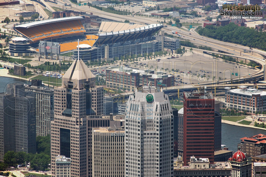 Heinz Field and One Mellon Center from above