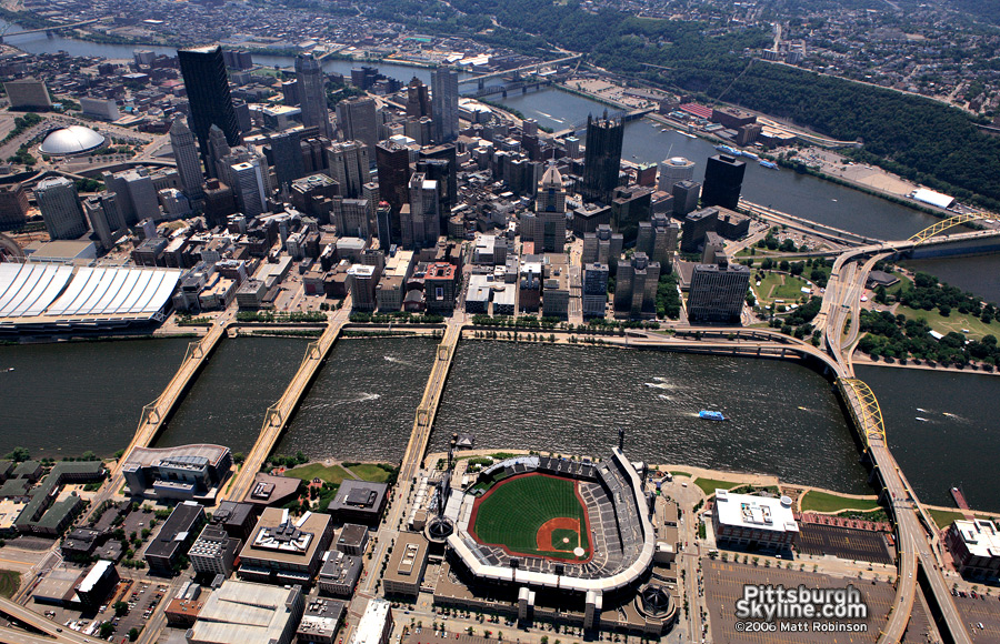 Aerial of downtown Pittsburgh.