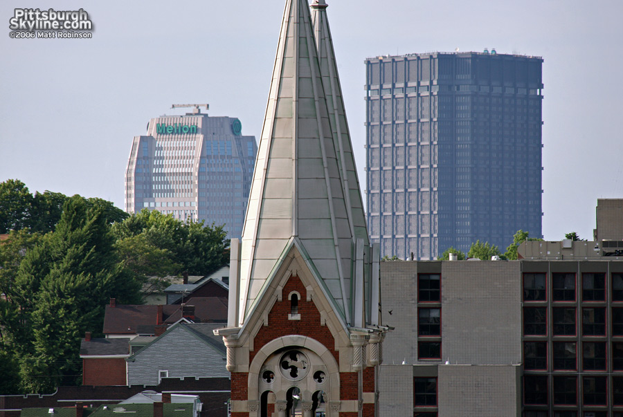 US Steel Building and One Mellon Center peek above a ridge